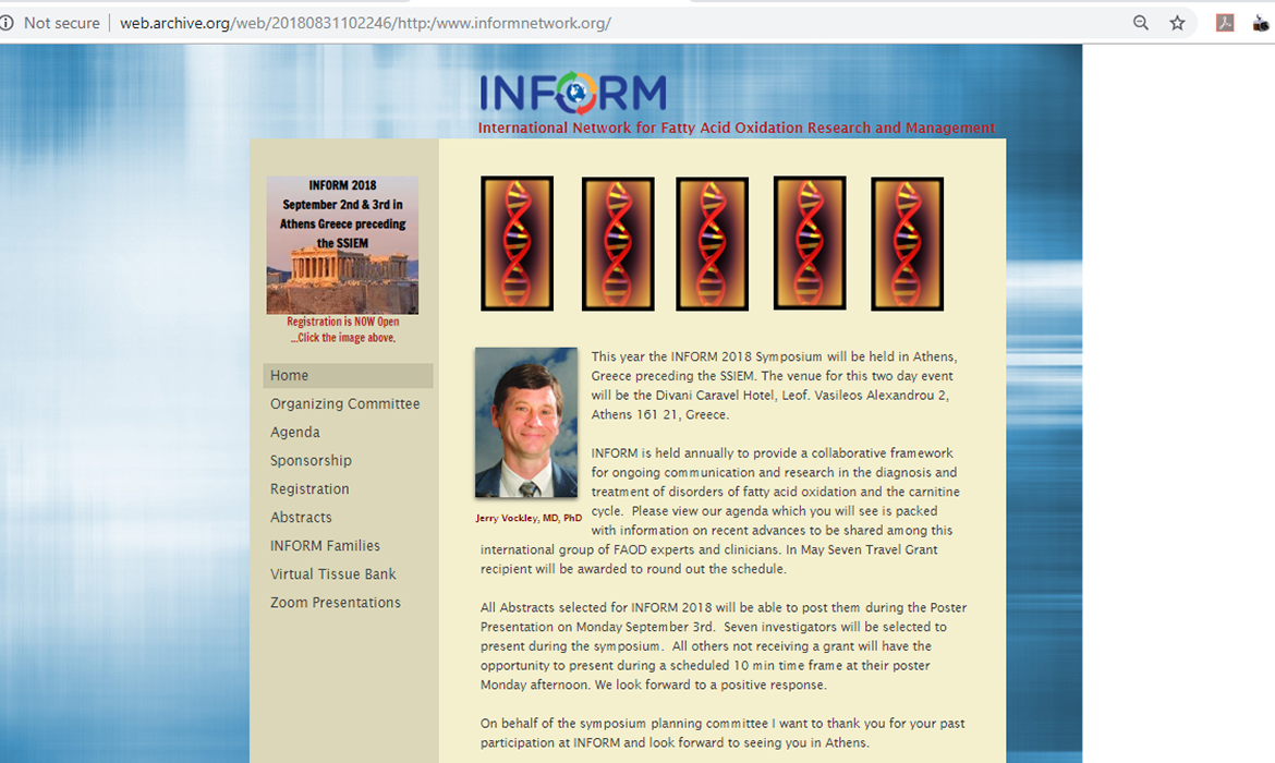 Before picture of the INFORM Network Website