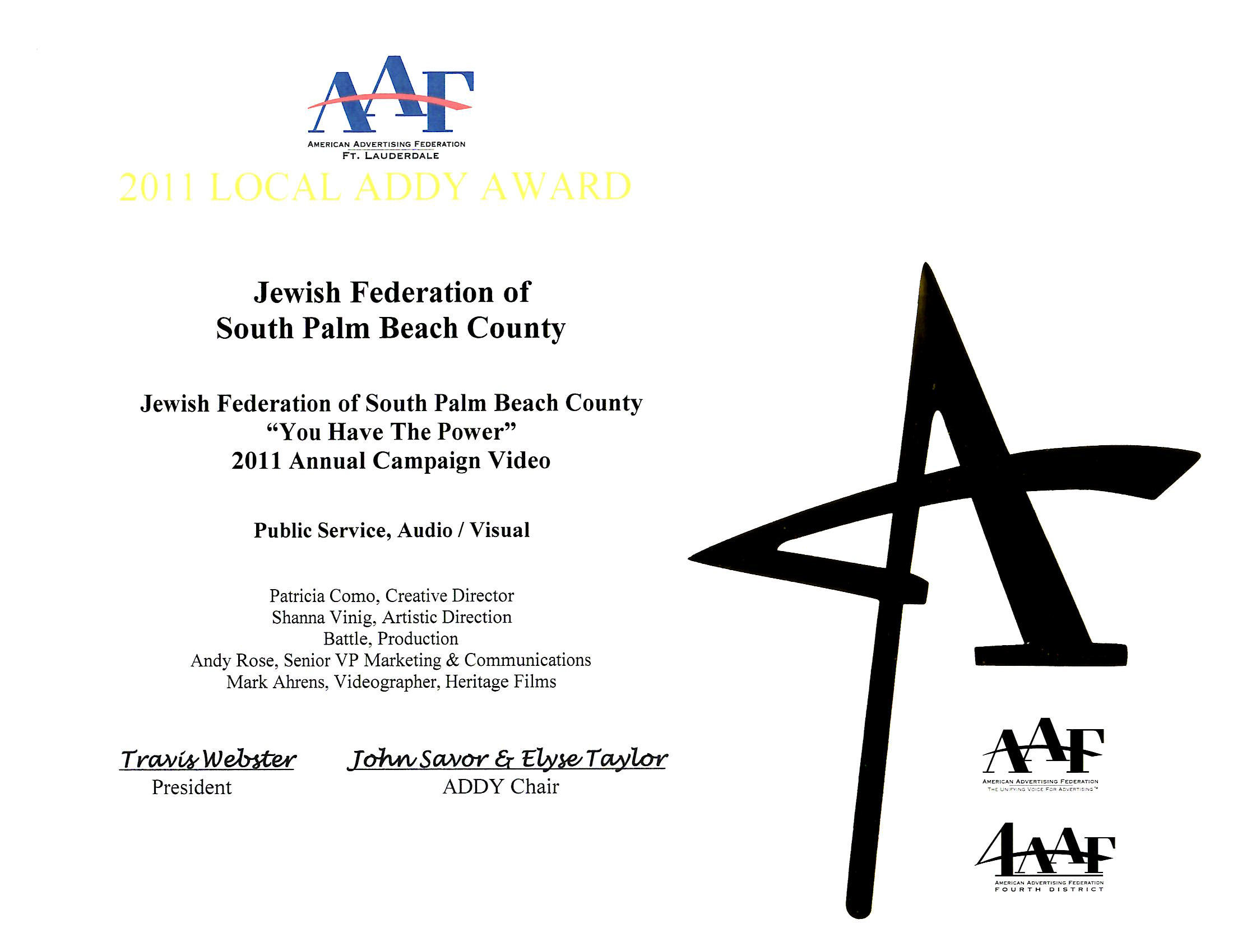 2011 Addy Award - -You Have The Power
