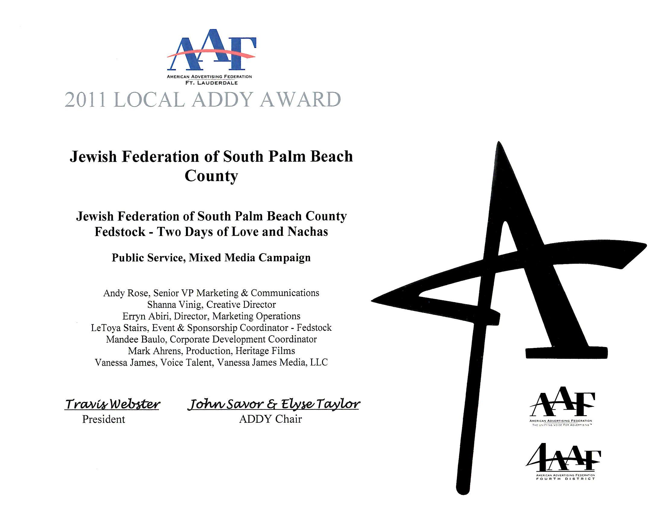 2011 Local Addy Award