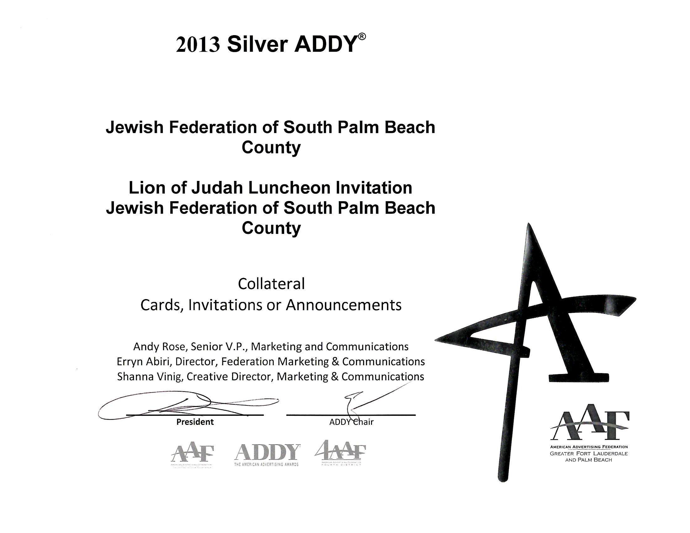 2013 Addy Award - Lion of Judah